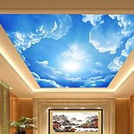 3d kivuta nahka vaikutus suuri aula katto seinämaalaus tapetti sininen taivas ja pilvet katto maalaus taide sisustus