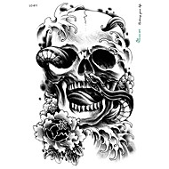 21 * 15см большой большой стикер татуировки Halloween Horror череп черный дизайн временную татуировку скелет змеи цветок