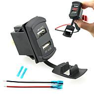 Недорогие Автомобильные зарядные устройства-iztoss двойной USB автомобильное зарядное устройство цифровой светодиодный дисплей вольтметр с проводами и изоляцией термоусадочной