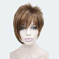 お買い得  -非対称メディア赤褐色ミックスストロベリーブロンド傾斜前髪短い直線人工毛の女性のかつら