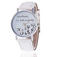 voordelige Modieuze horloges-Dames Kwarts Vrijetijdshorloge PU Band Teksthorloge Modieus Zwart Wit Rood Bruin Grijs Kaki