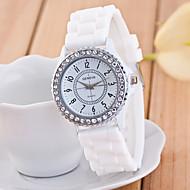 お買い得  ファッションウォッチ-白シリコンバンドが付いてファッショナブルなクォーツ腕時計