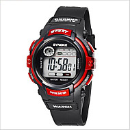 SYNOKE Дети Спортивные часы Наручные часы Цифровой LCD Календарь Секундомер Защита от влаги тревога Светящийся Pезина Группа Черный