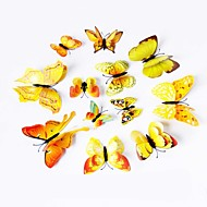 12 Pcs 3D Simulation Butterfly PVC Wall Stickers Wall Art Decals (Assorted Colors)