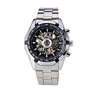 お買い得  -WINNER 男性用 リストウォッチ 機械式時計 自動巻き 透かし加工 ステンレス バンド ハンズ ぜいたく シルバー - ホワイト ブラック