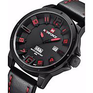 お買い得  -NAVIFORCE 男性用 軍用腕時計 クォーツ カレンダー レザー バンド ハンズ カジュアル ブラック / カーキ - ブラック / レッド ブラック / ホワイト ローズゴールド 2年 電池寿命 / ステンレス / Maxell SR626SW