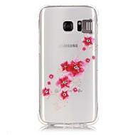 Для Samsung Galaxy S7 Edge Стразы / Мигающая LED подсветка / Прозрачный / С узором Кейс для Задняя крышка Кейс для Цветы Мягкий TPU