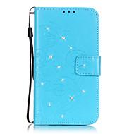 Недорогие Чехлы и кейсы для Galaxy S2-Кейс для Назначение SSamsung Galaxy Samsung Galaxy S7 Edge Бумажник для карт Кошелек Стразы со стендом Флип Рельефный Чехол Бабочка Мягкий