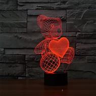 billige -1 stk 3D natlys Dæmpbar Usb Mangefarvet Plast 1 Lampe Ingen Batterier Inkluderet 23.0*17.0*12.0cm