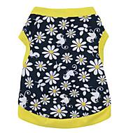 お買い得  -ネコ 犬 Tシャツ 犬用ウェア 花/植物 Черный/желтый コットン コスチューム ペット用 男性用 女性用 ファッション