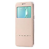 Недорогие Чехлы и кейсы для Galaxy S7-DE JI Кейс для Назначение SSamsung Galaxy Samsung Galaxy S7 Edge со стендом / с окошком / Флип Чехол Однотонный Кожа PU для S7 edge / S7 / S6 edge plus