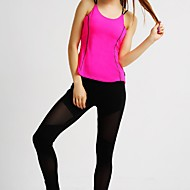MIDUO Žene Futó atléta Bez rukávů Prozračnost Majice za Yoga Sposobnost Trčanje Chinlon Slim Fuksija