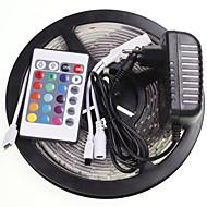 5m 16.4ft vanntett rgb 300x5630 SMD LED fleksibel LED lys strimler 24 nøkkel ir 12v 2a strømforsyning AC100-240V