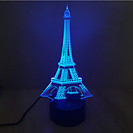 cheap LED Novelty Lights-Eiffel Tower Touch Dimming 3D LED Night Light 7Colorful Decoration Atmosphere Lamp Novelty Lighting Light