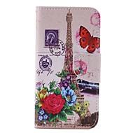 Til Samsung Galaxy etui Etuier Pung Kortholder Med stativ Flip Heldækkende Etui Eiffeltårnet Hårdt Kunstlæder for Samsung J3 J3 Pro