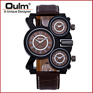tanie Markowe zegarki-Oulm Męskie Wojskowy Kwarcowy Trzy strefy czasowe Skóra naturalna Pasmo Luksusowy Nowoczesne Czarny Brązowy