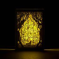 1db őz az erdőben a háromdimenziós alakot faragott lámpa világít nordic képkeret éjszakai fény