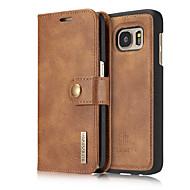Недорогие Чехлы и кейсы для Samsung-Кейс для Назначение SSamsung Galaxy Samsung Galaxy S7 Edge Бумажник для карт Флип Чехол Сплошной цвет Твердый Настоящая кожа для S7 edge