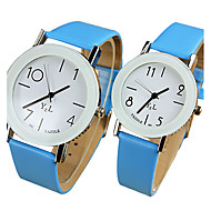 cheap Couple Watches-YAZOLE Couple's Quartz Wrist Watch / Hot Sale PU Band Casual Cool Black White Blue Red Brown Pink Yellow
