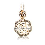 Недорогие Украшения в цветочном стиле-Жен. Ожерелья с подвесками В форме цветка Стразы Позолоченное розовым золотом Искусственный бриллиант Сплав Цветочный дизайн Цветы Мода