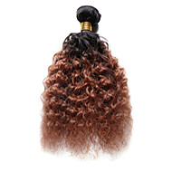 Cabelo Humano Cabelo Indiano Âmbar Ondas Médias Extensões de cabelo 1 Peça Preto / Medium Auburn