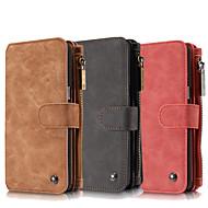 Недорогие Чехлы и кейсы для Galaxy Note-Кейс для Назначение SSamsung Galaxy Samsung Galaxy Note7 Бумажник для карт Кошелек со стендом Флип Чехол Сплошной цвет Настоящая кожа для