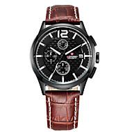 Недорогие Фирменные часы-LONGBO Муж. Кварцевый Наручные часы Защита от влаги / Фосфоресцирующий Кожа Группа На каждый день Черный