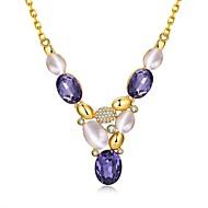 Dame Perle Zirkonium Guldbelagt Glas Rødguldbelagt Imitation Diamond Unikt design Hængende Imiteret Perle Mode Boheme StilGylden Rose