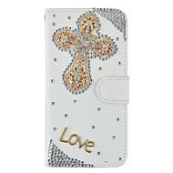 Кейс для Назначение SSamsung Galaxy S7 edge S7 Бумажник для карт Кошелек Стразы со стендом Флип Чехол Сплошной цвет Твердый Искусственная