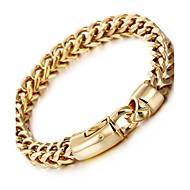 Kalen 1pc 18K Altın Kaplama Paslanmaz Çelik Titanyum Çelik Dış mekan için Gümüş Altın / Zincir & Halka Bileklikler / Erkek
