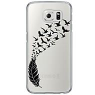 Кейс для Назначение SSamsung Galaxy S7 edge S7 Ультратонкий Полупрозрачный Задняя крышка  Перья Мягкий TPU для S7 edge S7 S6 edge plus S6