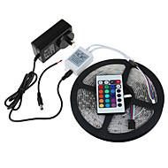 お買い得  -HRY 5m ライトセット / RGBストリップライト 300 LED 3528 SMD 1 24キーリモコン / 1 x 2A電源アダプタ RGB カット可能 / 防水 / 接続可 12 V 1セット / IP65