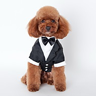 cheap Pet Supplies Accessories-Cat Dog Tuxedo Dog Clothes Bowknot Black Cotton Costume For Pets Men's Cute Cosplay Wedding