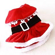 Kat Hond kostuums Jurken Hondenkleding Fleece Lente/Herfst Winter Schattig Cosplay Kerstmis Effen Rood Voor huisdieren