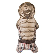Dog Coat Hoodie Jumpsuit Dog Clothes Keep Warm Windproof Fashion Plaid/Check Beige Brown Costume For Pets