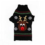 고양이 강아지 코트 스웨터 강아지 의류 파티 캐쥬얼/데일리 코스프레 따뜻함 유지 웨딩 새해 할로윈 크리스마스 순록 블랙 레드