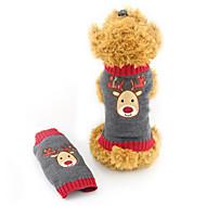 Kat Hond Truien Hondenkleding Acrylvezel Winter Schattig Kerstmis Rendier Grijs Voor huisdieren