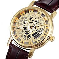 CAGARNY 커플용 스켈레톤 시계 패션 시계 손목 시계 석영 중공 판화 / 가죽 밴드 빈티지 캐쥬얼 멋진 블랙 브라운