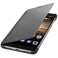 voordelige Mobiele telefoonhoesjes-hoesje Voor Huawei Automatisch aan / uit Flip Volledig hoesje Effen Kleur Hard PU-nahka voor Mate 9