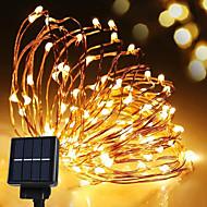 태양 광 발전 끈 가벼운 방수 주도 스트립 10m 100led 구리 와이어 램프 따뜻한 흰색 야외 장식 조명