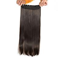 お買い得  -5クリップロングストレートライトブラウン(#6)女性のための毛延長で人工毛クリップ