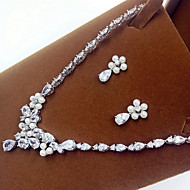 billiga -Smyckeset Zircon Kubisk Zirkoniumoxid Brudkläder Silver Party 1set Dekorativa Halsband Örhängen Bröllopsgåvor