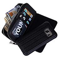Кейс для Назначение SSamsung Galaxy S7 edge S7 Бумажник для карт Кошелек Чехол Сплошной цвет Твердый Натуральная кожа для S7 edge S7 S6