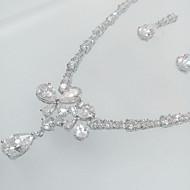 billiga -Smycken Set Zircon Kubisk Zirkoniumoxid Kors Djur Form Fjäril Silver Dekorativa Halsband Örhängen För Bröllop Party 1set Bröllopsgåvor