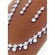 abordables -Mujer Cristal Conjunto de joyas Zirconio, Zirconia Cúbica Incluir Plata Para Fiesta / Pendientes / Collare