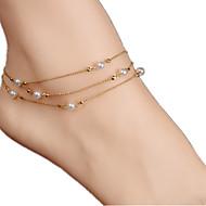 billiga -Dam Ankelkedja / Armband Pärla Oäkta pärla Multi lager Europeisk Ankelkedja Smycken Till Dagligen