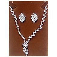 billiga -Smycken Set Zircon Kubisk Zirkoniumoxid Silver Dekorativa Halsband Örhängen För Party 1set Bröllopsgåvor