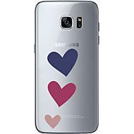 Недорогие Чехлы и кейсы для Galaxy S7-Кейс для Назначение SSamsung Galaxy S7 edge S7 Ультратонкий Прозрачный С узором Кейс на заднюю панель С сердцем Мягкий ТПУ для S7 edge S7