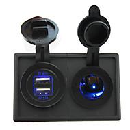Недорогие Автомобильные зарядные устройства-12v / 24v привели разъем питания и 4.2a двойной USB-порт с корпусом держателя панели для автомобиля лодка грузовик RV