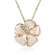 Женский Ожерелья с подвесками Синтетический рубин В форме цветка Синтетические драгоценные камни Циркон Позолота Сплав Уникальный дизайн